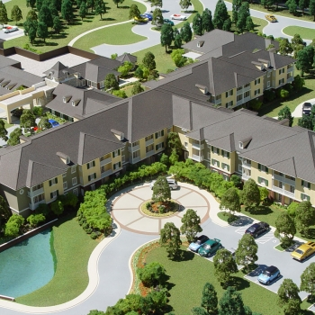 Architectural Scale Model of Christus Village Assisted Living Facility for Three Architecture