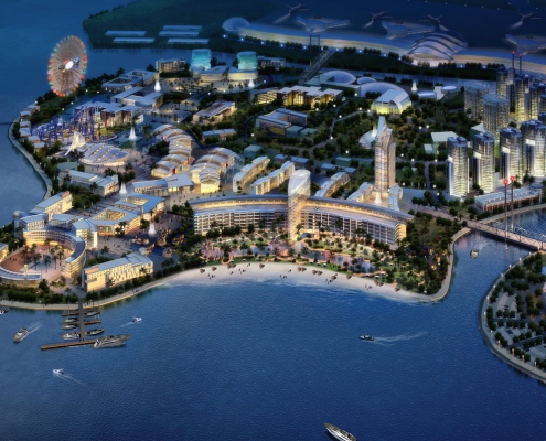 Conceptual Digital Rendering of Global City from an Aerial View