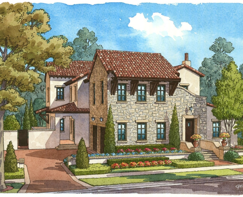 Pen & Ink with Watercolor Renderings of Single Family Home for Goehring & Morgan Construction
