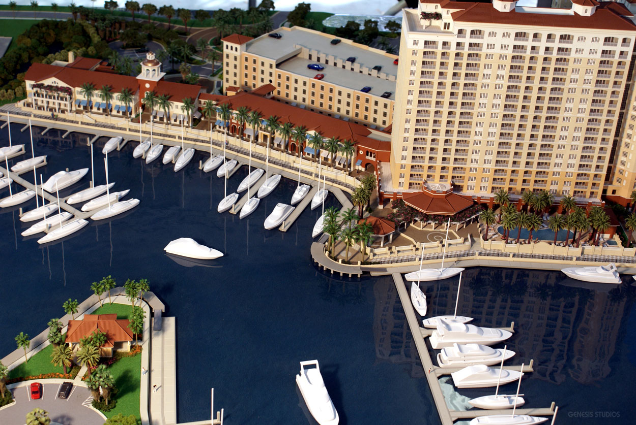 Architectural Scale Model of Tarpon Point Marina from an Aerial View for Grosse Pointe Development
