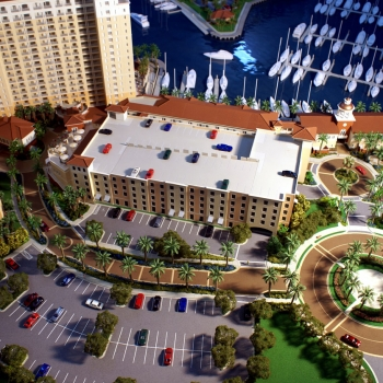 Architectural Scale Model of Tarpon Point Marina from a View of the Parking Lot for Grosse Pointe Development