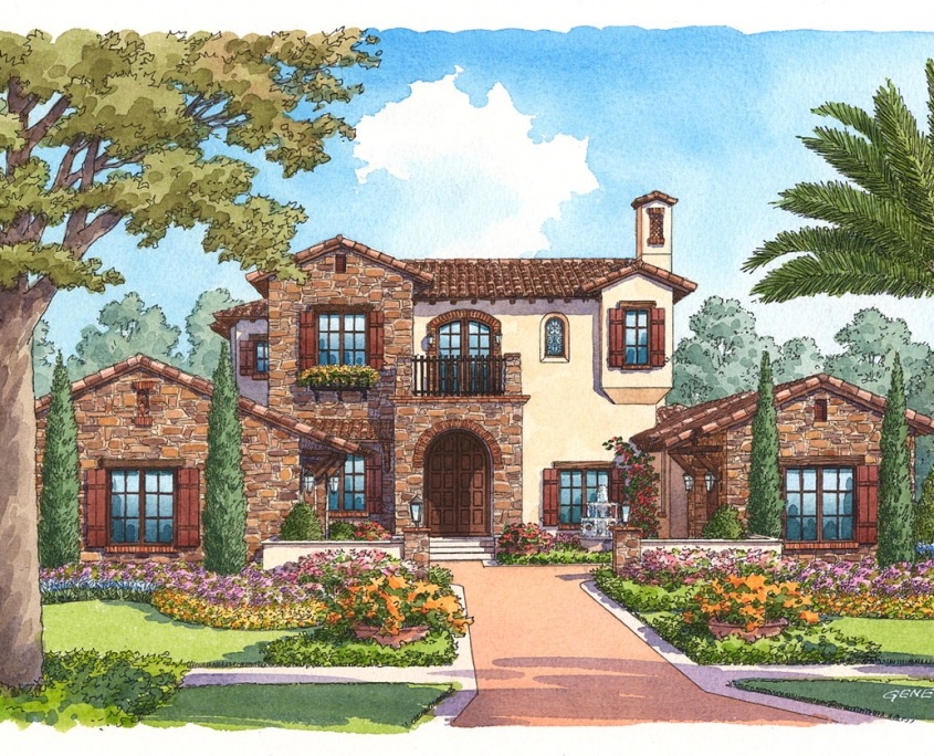 Pen & Ink with Watercolor Illustration of Tuscan Single Family Home for J Richard Watson Construction