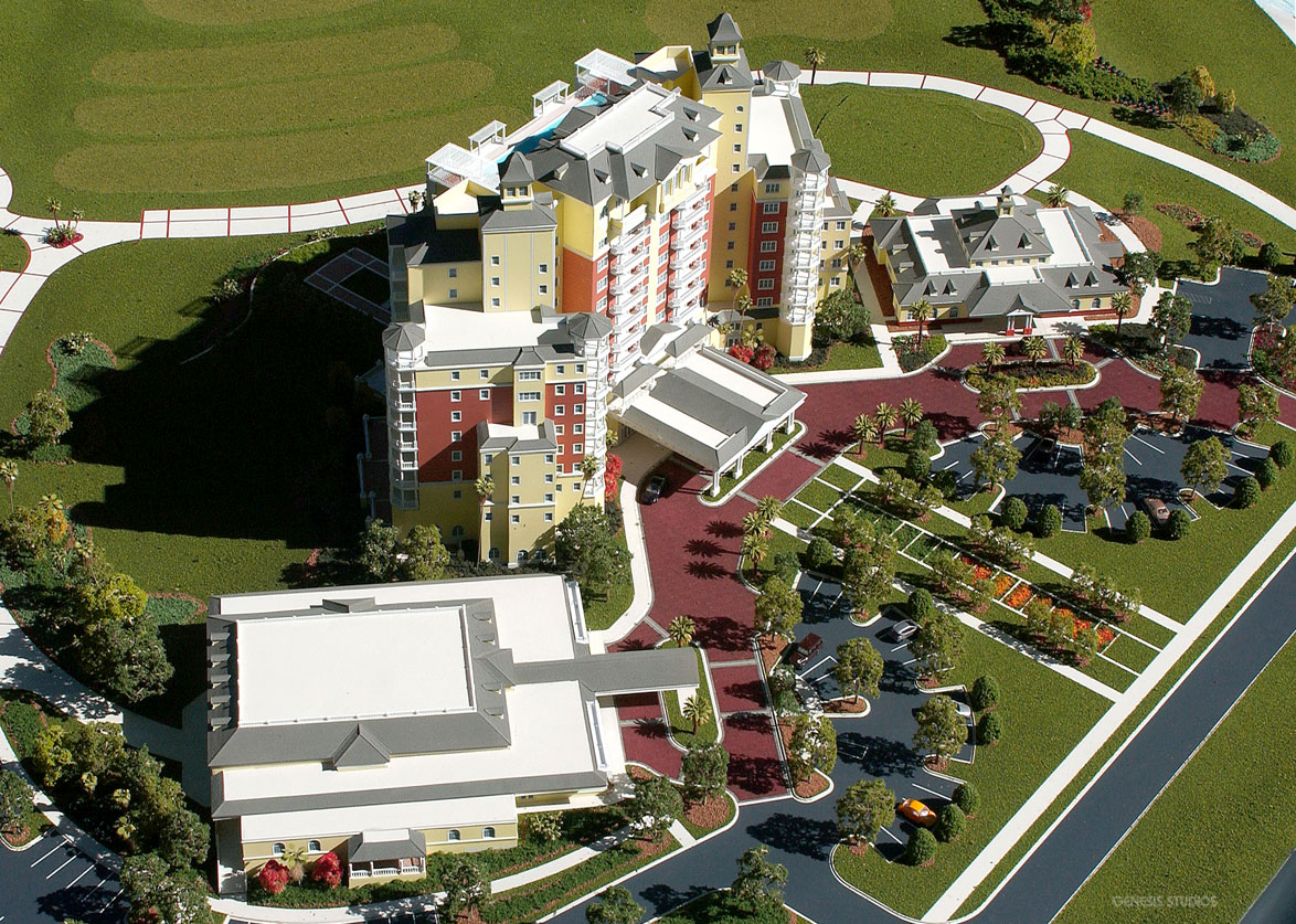 Architectural Scale Model of Reunion Grande Resort in Porte Cochere from an Aerial View