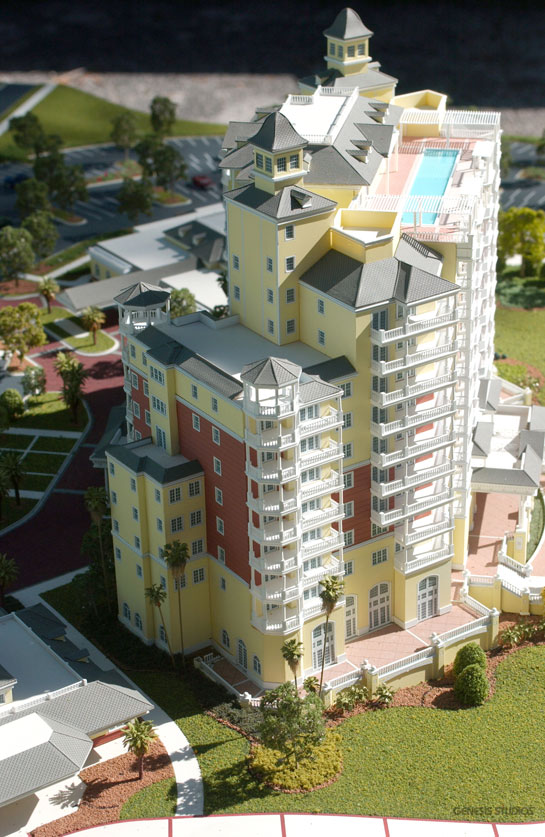 Architectural Scale Model of Reunion Grande Resort in Porte Cochere with a View of the Penthouse