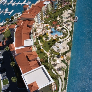 Architectural Scale Model of Yacht Harbor Village from an Aerial View