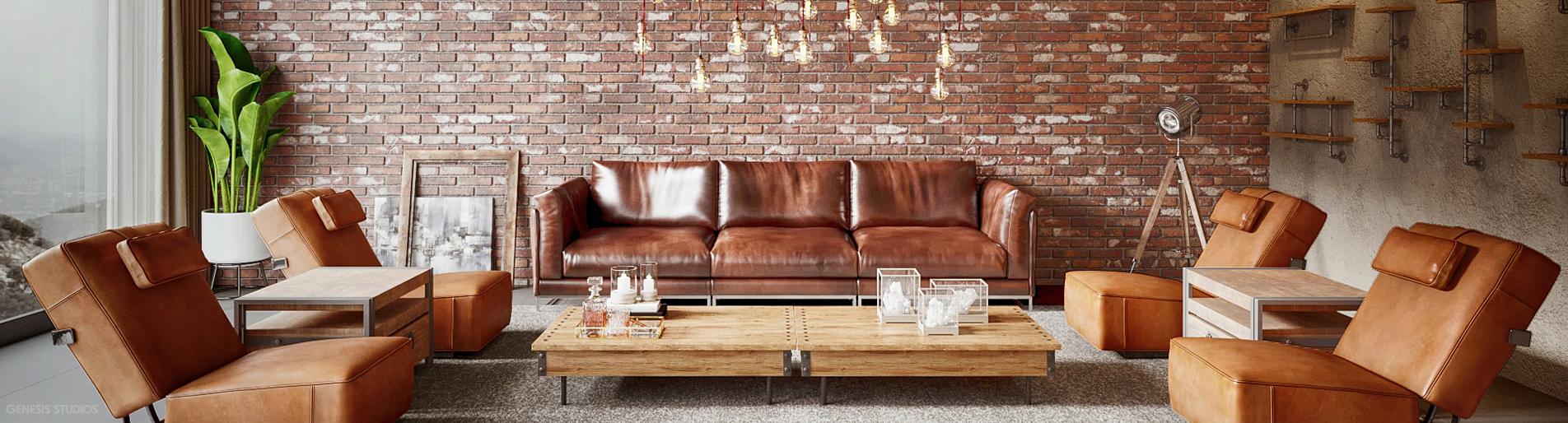Digital Rendering of an Industrial Living Room