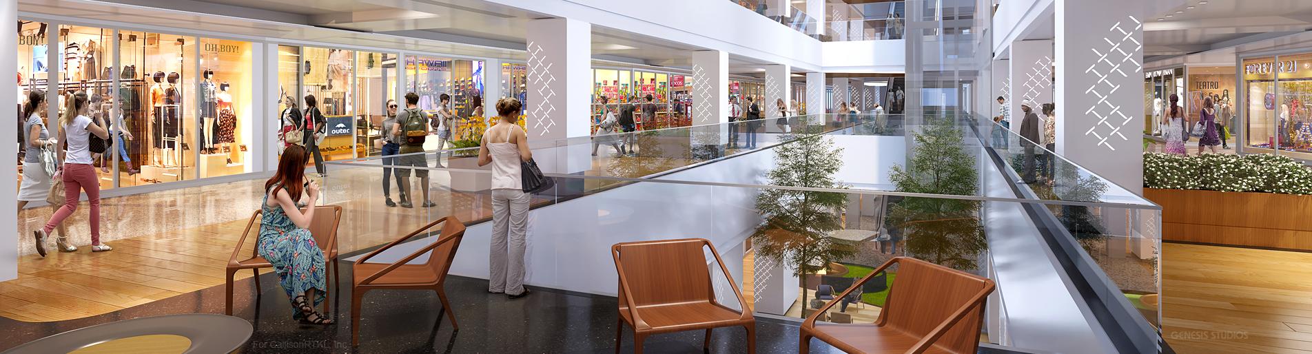 3D Interior Renderings of Shopping Tijuca Mall in Rio de Janeiro for CallisonRTKL