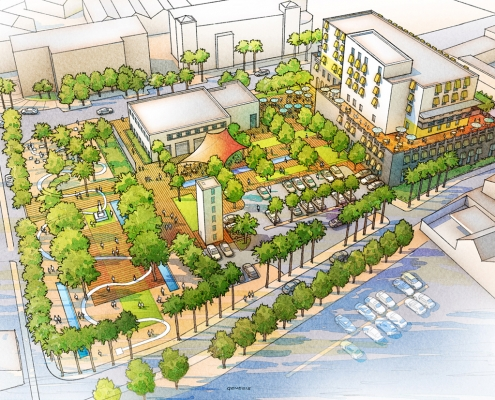 Watercolor Rendering of Golden Square Multi Use Outdoor Complex created for Design Landscape Architects