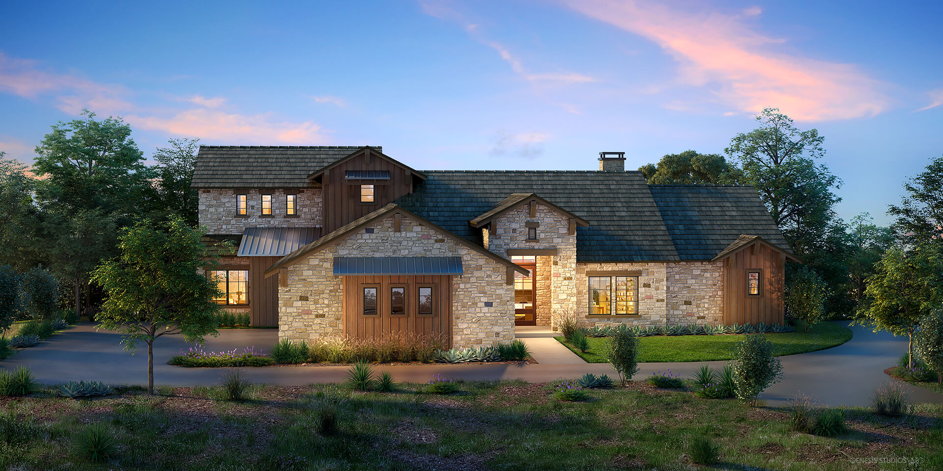 Architectural House Rendering - Boot Ranch