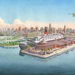042 - Watercolor Architectural Rendering - Carnival Cruise Lines Terminal