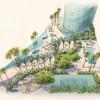 044 - Watercolor Rendering - The Gateway Towers Abu-Dhabi