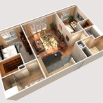 12 - Digital Cutaway Rendered Floor Plan - CGHJ Architects