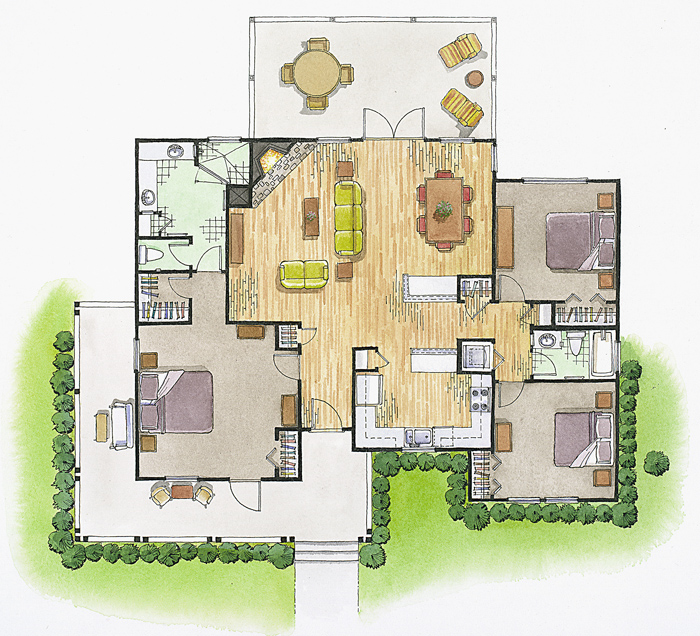 Floor Plans and Elevations Architectural Illustration – Rendered Site Plan
