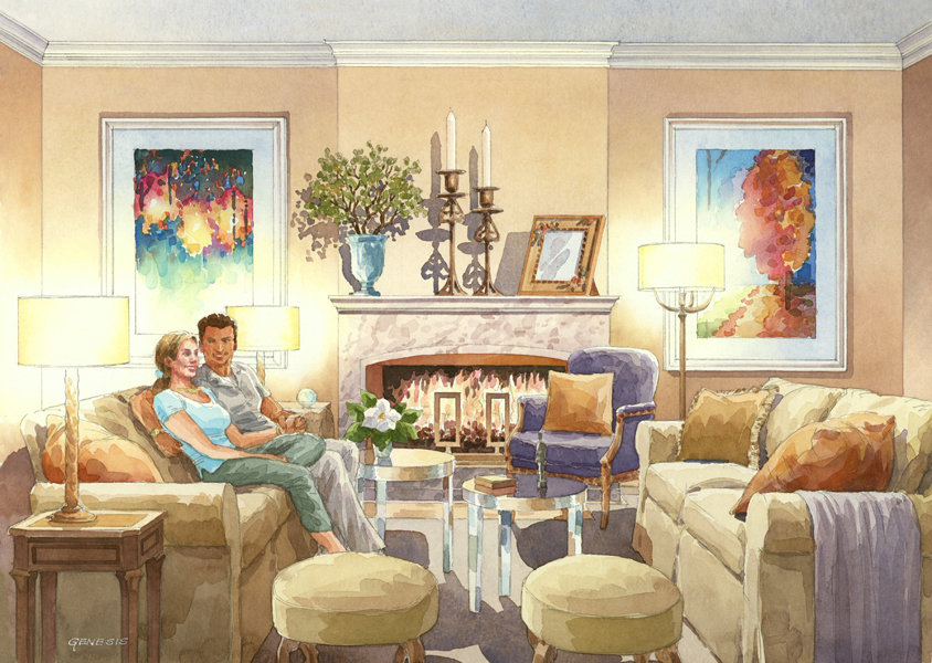 1 Watercolor Interior Rendering Dlf Ltd Genesis Studios