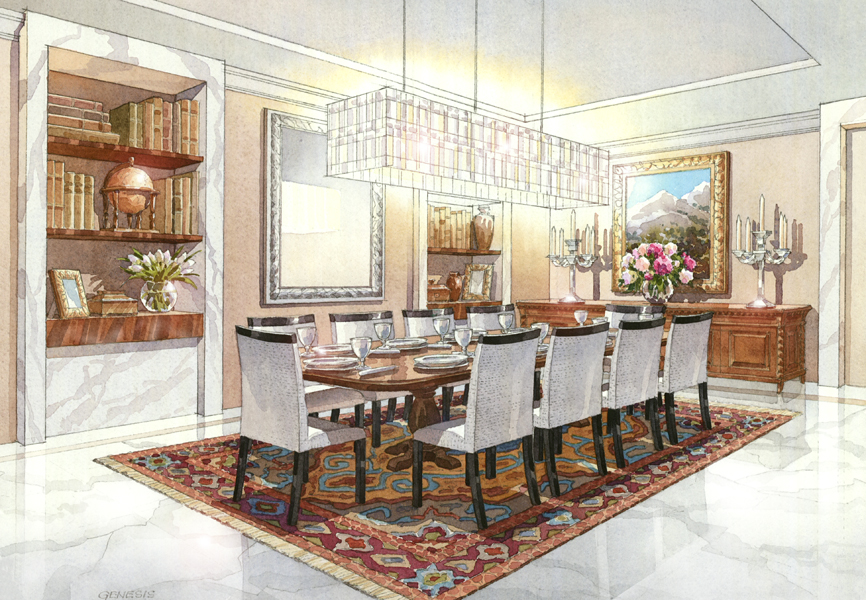 Interior Design Watercolor Rendering