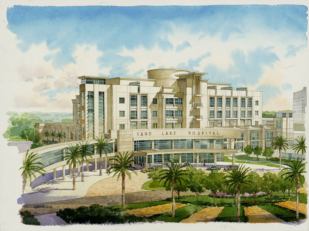 32 Watercolor Architectural Rendering Loose HKS Architects