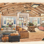 6 - Loose Interior Watercolor Renderings - Ed Cox Interiors